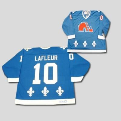 NHL Nordiques 10 Guy Lafleur CCM Throwback blue Men Jersey