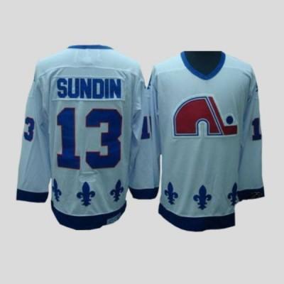 NHL Nordiques 13 Mats Sundin CCM Throwback white Men Jersey