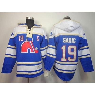 NHL Nordiques 19 Joe Sakic Light Blue Men Sawyer Hooded Sweatshirt