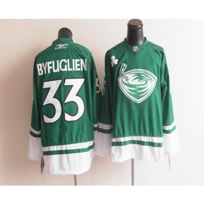 NHL Thrashers 33 Dustin Byfuglien Green St. Patrick's Day Men Jersey