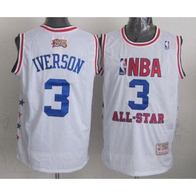 NBA 76ers 3 Allen Iverson White 2003 All Star Mitchell And Ness Men Jersey