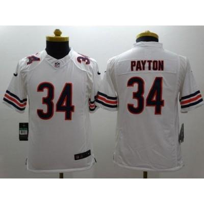 Nike Bears 34 Walter Payton White Youth Stitched NFL Limited Jersey