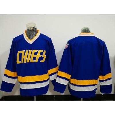 Movie Hanson Brothers Charlestown Chiefs Blank Blue Throwback Men Jersey