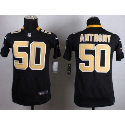 2015 Draft Nike Saints 50 Stephone Anthony Black Team Color Youth Stitched NFL Elite Jersey