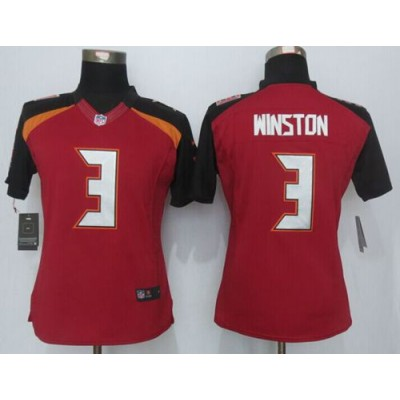 2015 Draft Nike Buccaneers 3 Jameis Winston Red Team Color Women Stitched NFL New Limited Jersey