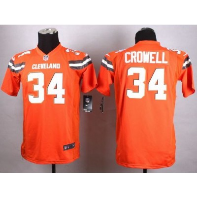 Nike Browns 34 Isaiah Crowell Orange Alternate Youth Stitched NFL New Elite Jersey