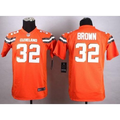 Nike Browns 32 Jim Brown Orange Alternate Youth Stitched NFL New Elite Jersey