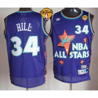 NBA Cavaliers 34 Tyrone Hill Purple 1995 All Star Throwback The Finals Men Jersey