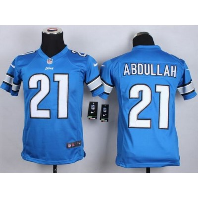 2015 Draft Nike Lions 21 Ameer Abdullah Light Blue Team Color Youth Stitched NFL Elite Jersey