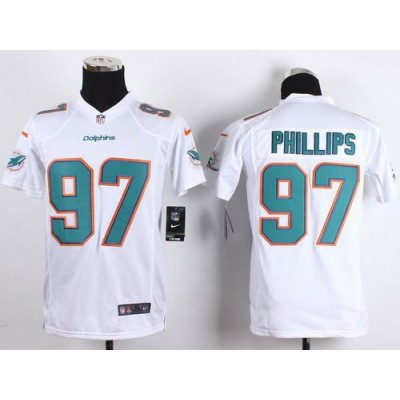 2015 Draft Nike Dolphins 97 Jordan Phillips White Youth Stitched NFL New Elite Jersey