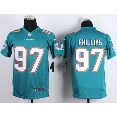 2015 Draft Nike Dolphins 97 Jordan Phillips Aqua Green Team Color Youth Stitched NFL New Elite Jersey