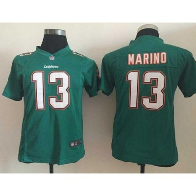 Nike Dolphins 13 Dan Marino Aqua Green Team Color Youth Stitched NFL Elite Jersey