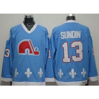 NHL Nordiques 13 Mats Sundin Light Blue CCM Throwback Men Jersey