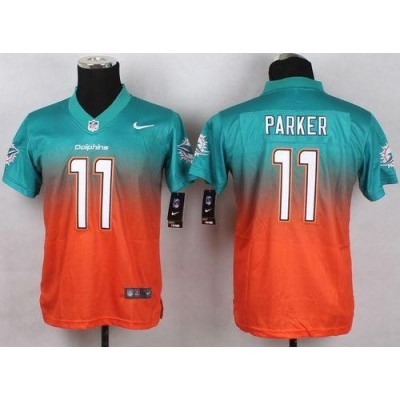 2015 Draft Nike Dolphins 11 DeVante Parker Aqua Green Orange Youth Stitched NFL Elite Fadeaway Fashion Jersey