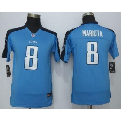 2015 Draft Nike Titans 8 Marcus Mariota Light Blue Team Color Youth Stitched NFL Limited Jersey