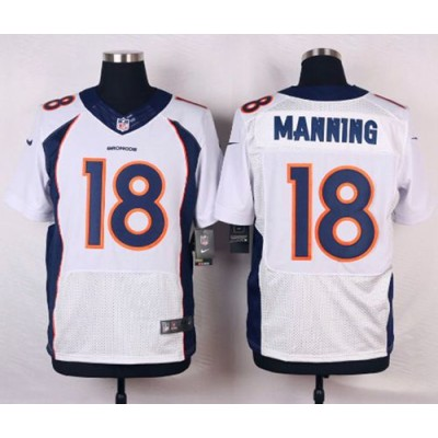 Nike Broncos 18 Peyton Manning White Men's Stitched NFL New Elite Jersey