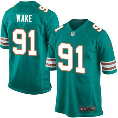 Nike Dolphins 91 Cameron Wake Aqua Green Alternate Youth Stitched NFL Elite Jersey 2015 Version
