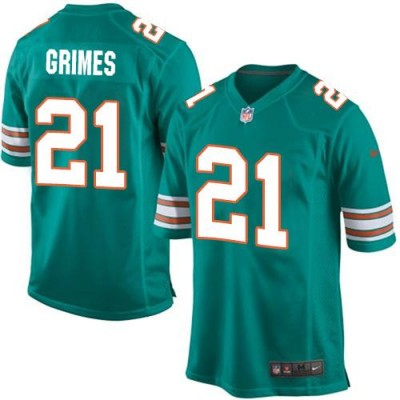 Nike Dolphins 21 Brent Grimes Aqua Green Alternate Youth Stitched NFL Elite Jersey