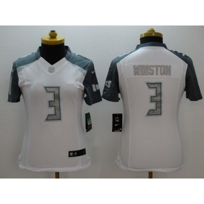Nike Buccaneers 3 Jameis Winston White Women Stitched NFL Limited Platinum Jersey