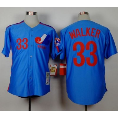 MLB Expos 33 Larry Walker Blue Throwback Mitchell And Ness Men Jersey
