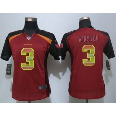 Nike Buccaneers 3 Jameis Winston Red Team Color Women Stitched NFL Elite Strobe Jersey