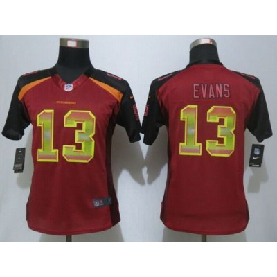 Nike Buccaneers 13 Mike Evans Red Team Color Women Stitched NFL Elite Strobe Jersey