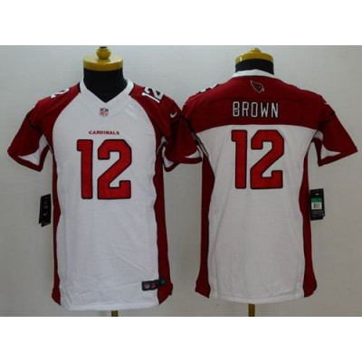 Nike Cardinals 12 John Brown White Youth Stitched NFL Limited Jersey