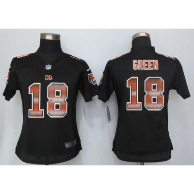 Nike Bengals 18 A.J. Green Black Team Color Women's Stitched NFL Elite Strobe Jersey