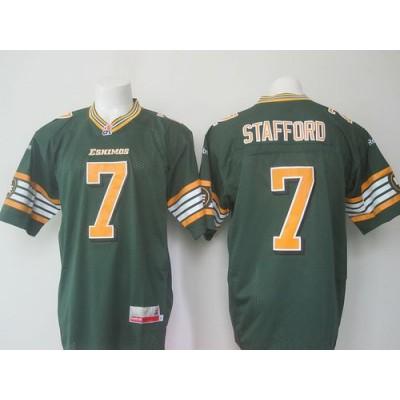 Eskimos 7 Kenny Stafford Green Stitched CFL Jersey