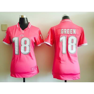 Nike Cincinnati Bengals 18 A.J. Green Pink Women Jersey