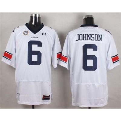 NCAA Auburn Tigers 6 Jeremy Johnson White Men Jersey With SEC Patch