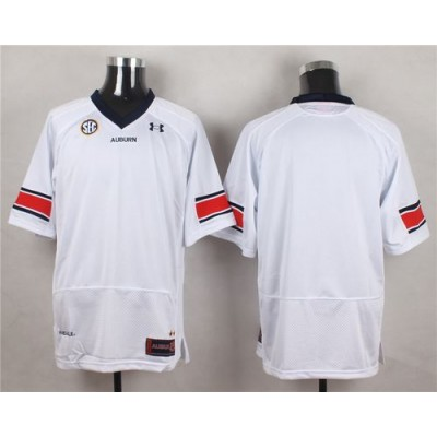NCAA Auburn Tigers Blank White Men Jersey With SEC Patch