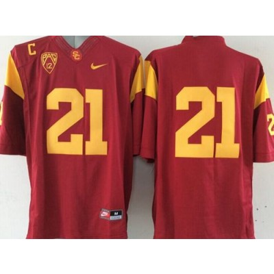 NCAA USC Trojans 21 Red Limited Men Jersey With C patch Pac-12 Patch