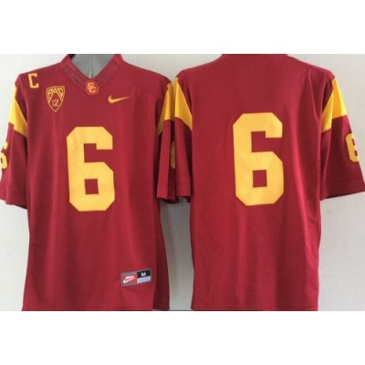 NCAA USC Trojans 6 Red Limited Men Jersey With C patch Pac-12 Patch