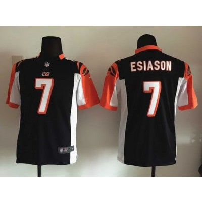 Nike Bengals 7 Boomer Esiason Black Team Color Youth Stitched NFL Elite Jersey