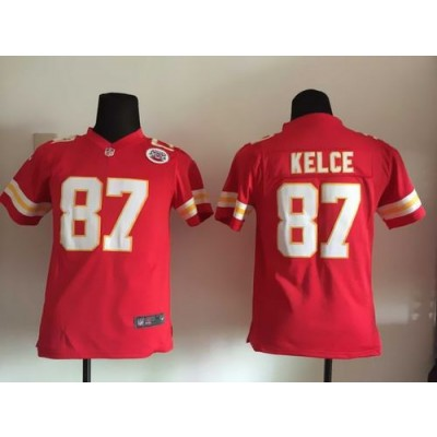 Nike Chiefs 87 Travis Kelce Red Team Color Youth Stitched NFL Elite Jersey With AFL-LH Patch
