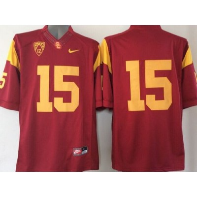 NCAA USC Trojans 15 Red PAC-12 Patch Men Jersey