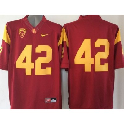 NCAA USC Trojans 42 Ronnie Lott Red PAC-12 Patch Men Jersey