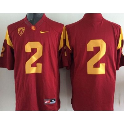 NCAA USC Trojans 2 Robert Woods Red Men Jersey PAC-12 Patch