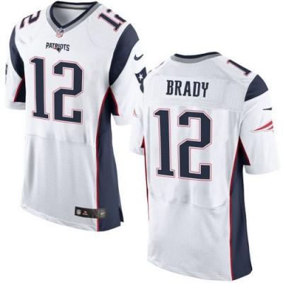 Nike Patriots 12 Tom Brady White Men Stitched NFL Elite Jersey New Logo