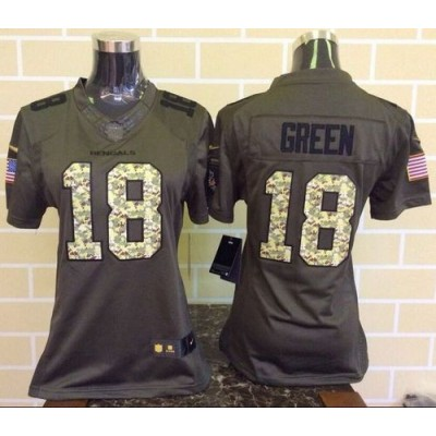 Nike Bengals 18 A.J. Green Green Women's Stitched NFL Limited Salute to Service Jersey