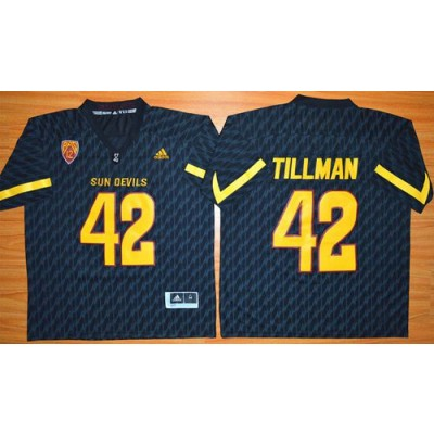 NCAA Arizona State Sun Devils 42 Pat Tillman New Black Basketball PAC-12 Patch Men Jersey