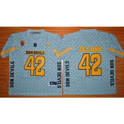 NCAA Arizona State Sun Devils 42 Pat Tillman New Grey Basketball PAC-12 Patch Men Jersey