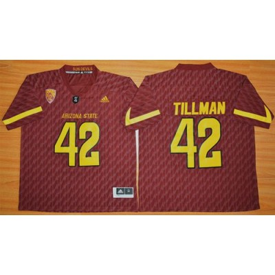 NCAA Arizona State Sun Devils 42 Pat Tillman New Red Basketball PAC-12 Patch Men Jersey