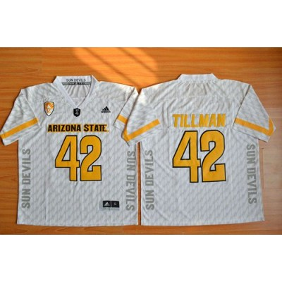 NCAA Arizona State Sun Devils 42 Pat Tillman New White Basketball PAC-12 Patch Men Jersey