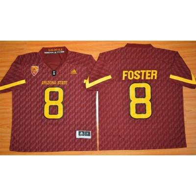 NCAA Arizona State Sun Devils 8 D. J. Foster New Red Basketball PAC-12 Patch Men Jersey