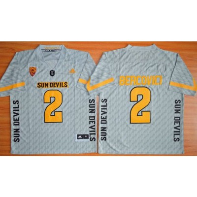 NCAA Arizona State Sun Devils 2 Mike Bercovici New Grey PAC-12 Patch Men Jersey