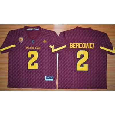 NCAA Arizona State Sun Devils 2 Mike Bercovici New Red PAC-12 Patch Men Jersey