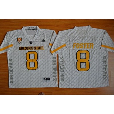 NCAA Arizona State Sun Devils 8 D. J. Foster New White PAC-12 Patch Men Jersey