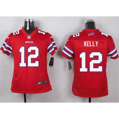 Nike Bills 12 Jim Kelly Red Youth Stitched NFL Limited Color Rush Jersey